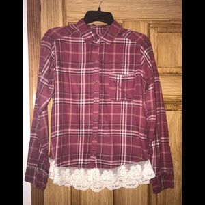 Hollister Flannel with Lace Bottom